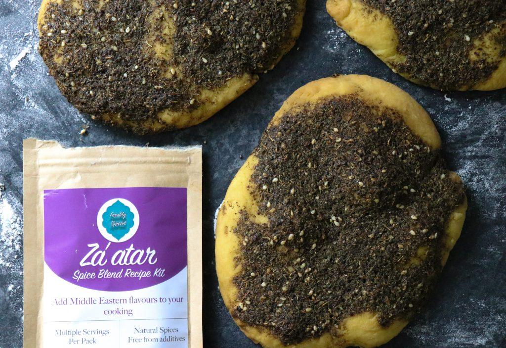 Photo of freshly baked za'atar flatbreads